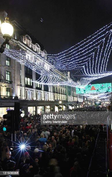 General view during the switchon of Regent Street's Christmas lights celebrating the new film 'Arthur Christmas' on November 8 2011 in London England