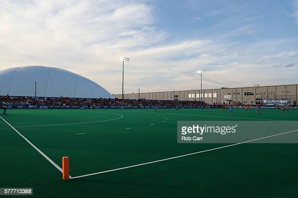 A general view during the Team USA and Team India field hockey match in preparation for the upcoming Rio Olympics on July 18 2016 in Manheim...