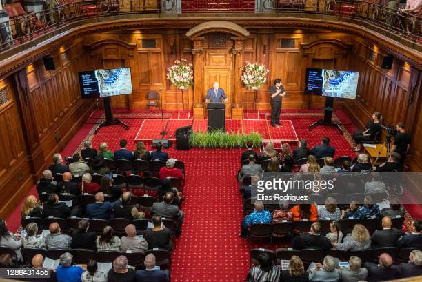 General view during the Tenth anniversary of Pike River Mine disaster ceremony held at Legislative Council Chamber at Parliament on November 19, 2020...