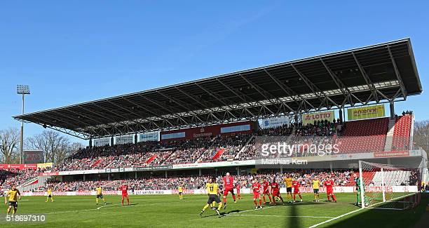 A general view during the third league match between FC Energie Cottbus and SG Dynamo Dresden at Stadion der Freundschaft on April 2 2016 in Cottbus...
