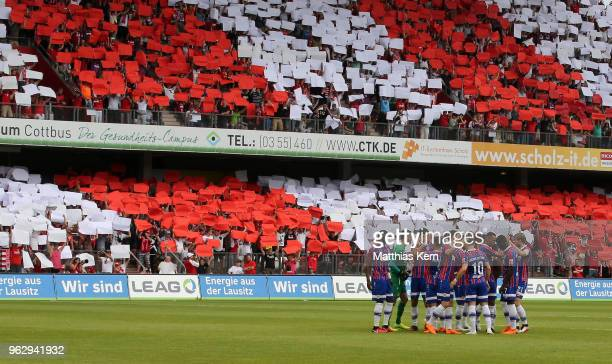 A general view during the Third League Playoff Leg 2 match between FC Energie Cottbus and SC Weiche Flensburg 08 at Stadion der Freundschaft on May...