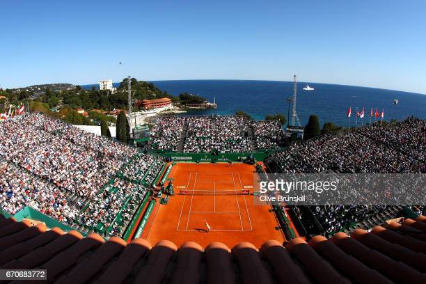 A general view during the third round match between Rafael Nadal of Spain and Alexander Zverev of Germany on day 5 of the Monte Carlo Rolex Masters...