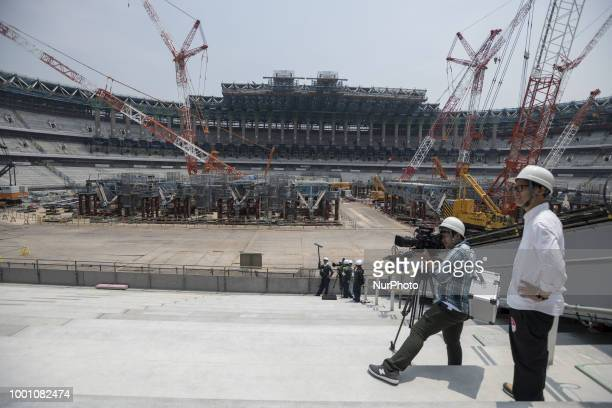 Organizer explained the progress in construction site for the Tokyo 2020 Olympic new National Stadium construction media tour on July 18 2018 in...