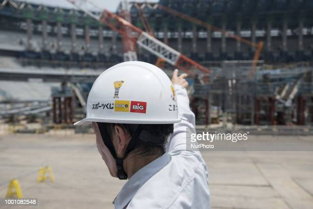 A general view during the Tokyo 2020 Olympic new National Stadium construction media tour on July 18 2018 in Tokyo Japan The current tempature inside...