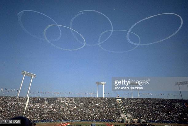 General view during the Tokyo Olympic Opening Ceremony at the National Stadium on October 10 1964 in Tokyo Japan