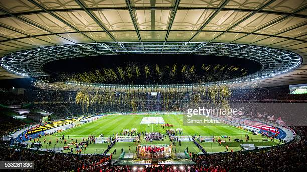 A general view during the trophy ceremony during the DFB Cup Final match between Bayern Muenchen and Borussia Dortmund at Olympiastadion on May 21...