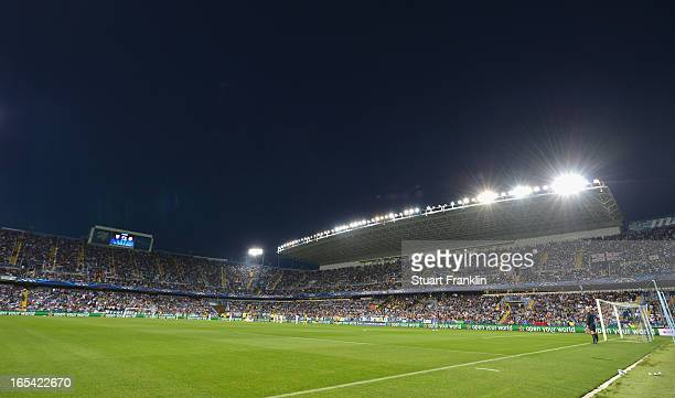 A general view during the UEFA Champion League quarter final first leg match between Malaga CF and Borussia Dortmund at La Rosaleda Stadium on April...