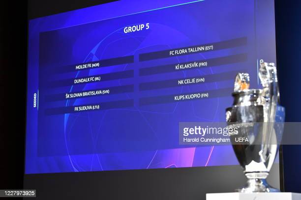 A general view during the UEFA Champions League 2020/21 First Qualifying Round draw at the UEFA headquarters The House of European Football on August...