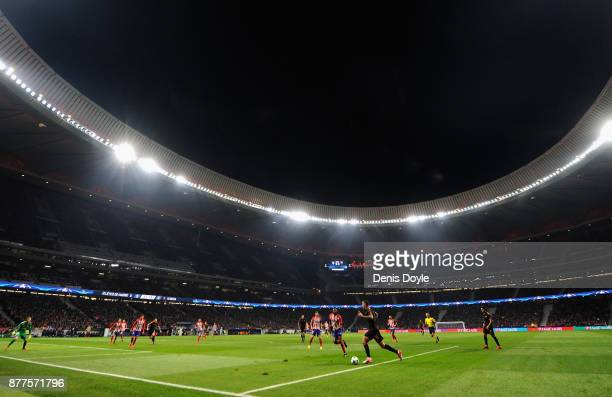 A general view during the UEFA Champions League group C match between Atletico Madrid and AS Roma at Wanda Metropolitano on November 22 2017 in...