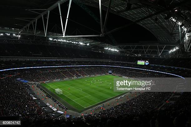 A general view during the UEFA Champions League Group E match between Tottenham Hotspur FC and Bayer 04 Leverkusen at Wembley Stadium on November 2...