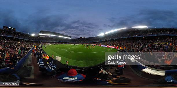 A general view during the UEFA Champions League quarter final first leg match between FC Barcelona and Club Atletico de Madrid at Camp Nou on April 5...