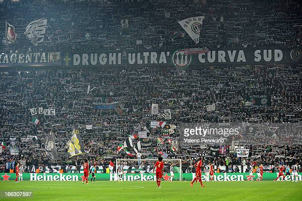 A general view during the UEFA Champions League quarterfinal second leg match between Juventus and FC Bayern Muenchen at Juventus Arena on April 10...