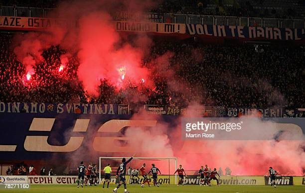 General view during the UEFA Cup Group D match between Dinamo Zagreb and Hamburger SV at the Maksimir stadium on December 5 2007 in Zagreb Croatia