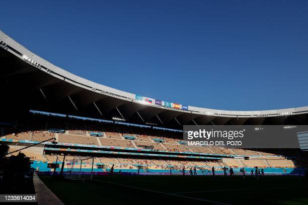 General view during the UEFA EURO 2020 Group E football match between Slovakia and Spain at La Cartuja Stadium in Seville on June 23, 2021.