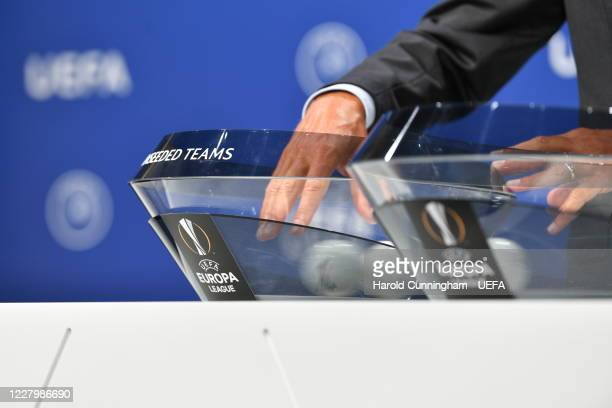 General view during the UEFA Europa League 2020/21 First Qualifying Round draw at the UEFA headquarters, The House of European Football on August 10,...