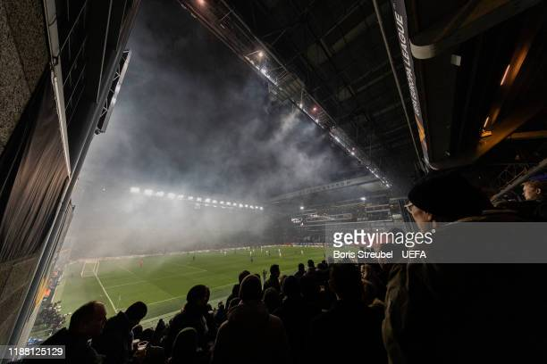 General view during the UEFA Europa League group B match between FC Kobenhavn and Malmo FF at Telia Parken on December 12, 2019 in Copenhagen,...