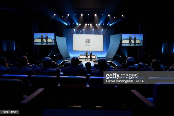 A general view during the UEFA Nations League Draw on January 24 2018 in Lausanne Switzerland