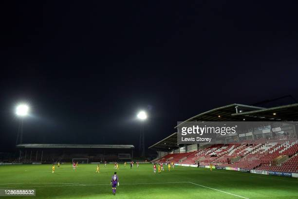 General view during the Vanarama National League match between Wrexham and Aldershot Town at Racecourse Ground on November 21, 2020 in Wrexham,...