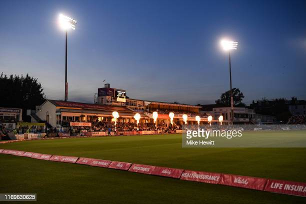 General view during the Vitality T20 Blast match between Sussex Sharks and Essex Eagles at The 1st Central County Ground on August 22, 2019 in Hove,...