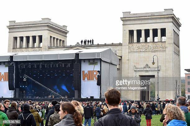 General view during the WIR open air at Koenigsplatz on October 11 2015 in Munich Germany This free music festival is offered by the city of Munich...