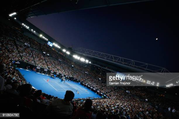 A general view during the women singles final between Caroline Wozniacki of Denmark and Simona Halep of Romania on day 13 of the 2018 Australian Open...