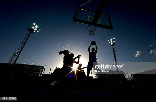 A general view during the Women's 3x3 Basketball round of 16 knockout match between Russia and Netherlands during day thirteen of the Baku 2015...