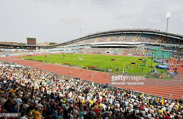 A general view during the Women's 400 Metres Hurdles First Round on day one of the 19th European Athletics Championships at the Ullevi Stadium on...