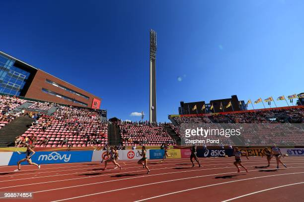 General view during the women's 4x100m relay final on day five of The IAAF World U20 Championships on July 14, 2018 in Tampere, Finland.