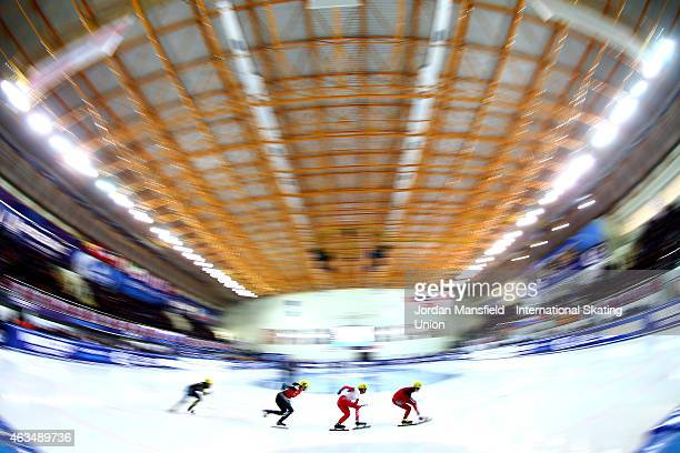 A general view during the Women's 500m quarterfinals on day two of the ISU World Cup Short Track Speed Skating on February 15 2015 in Erzurum Turkey