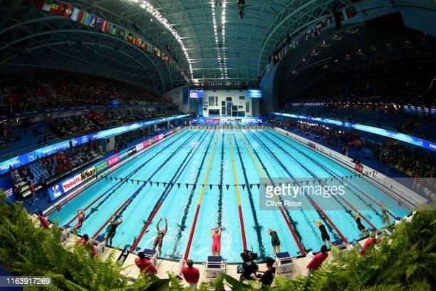 A general view during the Women's 50m Backstroke Semifinal on day four of the Gwangju 2019 FINA World Championships at Nambu International Aquatics...