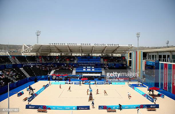 A general view during the Women's Beach Volleyball Preliminary match Azerbaijan and Poland during day four of the Baku 2015 European Games at Beach...