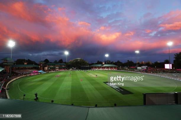 General view during the Women's Big Bash League match between the Sydney Sixers and the Brisbane Heat at North Sydney Oval on October 19, 2019 in...