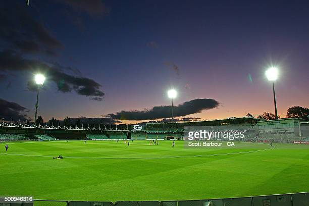 A general view during the Women's Big Bash League match between the Melbourne Renegades and the Hobart Hurricanes at Aurora Stadium on December 11...