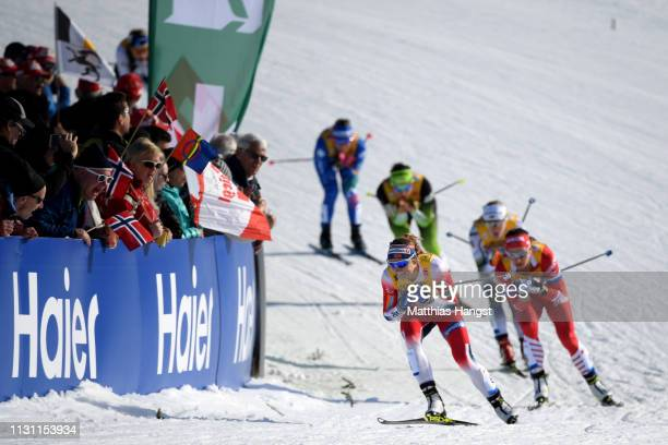 A general view during the Women's Cross Country Sprint quarterfinals at the Stora Enso FIS Nordic World Ski Championships on February 21 2019 in...