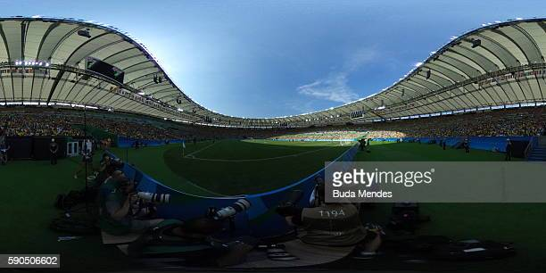 A general view during the Women's Football Semi Final between Brazil and Sweden on Day 11 of the Rio 2016 Olympic Games at Maracana Stadium on August...