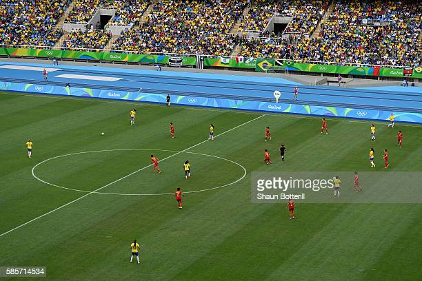 A general view during the Women's Group E first round match between Brazil and China PR during the Rio 2016 Olympic Games at the Olympic Stadium on...