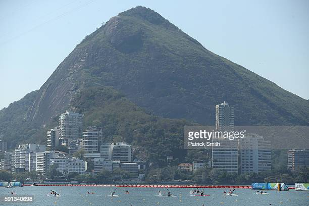 A general view during the Women's Kayak Single 500m semifinal during Day 12 of the Rio 2016 Olympic Games at Lagoa Stadium on August 17 2016 in Rio...