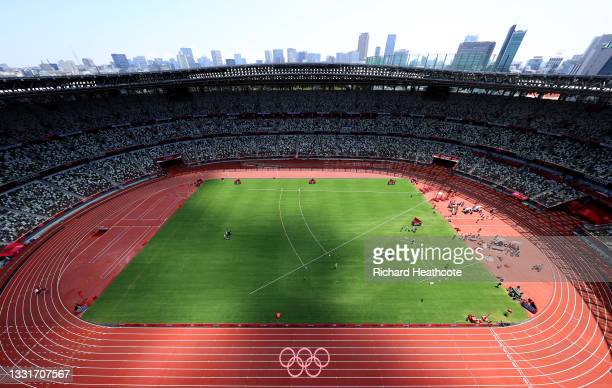 General view during the Women's Shot Put Final on day nine of the Tokyo 2020 Olympic Games at Olympic Stadium on August 01, 2021 in Tokyo, Japan.
