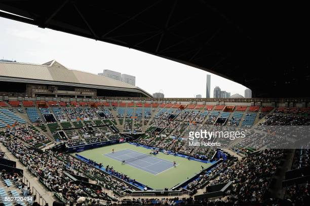 A general view during the women's singles final match on day seven of the Toray Pan Pacific Open Tennis At Ariake Coliseum on September 24 2017 in...
