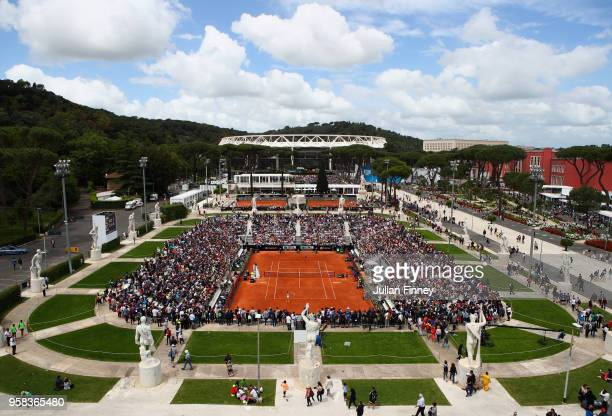 A general view during the Women's singles first round match between Aleksandra Krunic of Serbia and Roberta Vinci of Italy and on day two of the...
