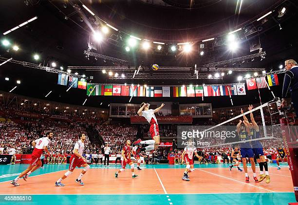 A general view during the World Championship match of the FIVB World Championships between Poland and Brazil at Spodek Hall on September 21 2014 in...