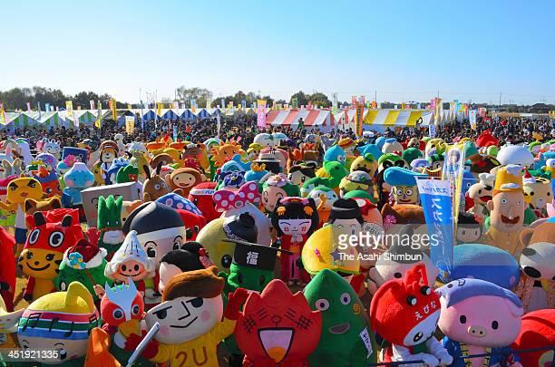 General view during the YuruKyara Summit 2013 at Hanyu Suigo park on November 23 2013 in Hanyu Saitama Japan YuruKyara or YuruChara abbreviation of...