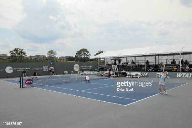 A general view during their doubles match between Hayley Carter and Luisa Stefani of Brazil and Marie Bouzkova of the Czech Republic and Jil...