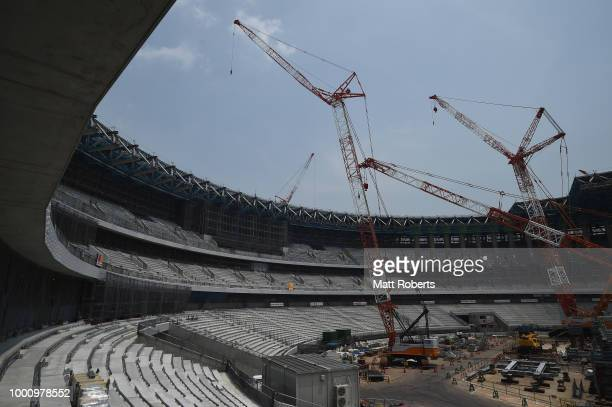 A general view during the Tokyo 2020 Olympic new National Stadium construction media tour on July 18 2018 in Tokyo Japan