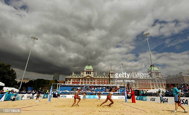 General view during USA v China in the VISA FIVB Beach Volleyball International at Horse Guards Parade on August 9, 2011 in London, England.