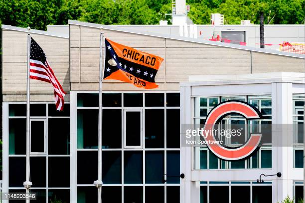 General view during warms up during the Chicago Bears organized team activities or OTA on June 5, 2019 at Halas Hall in Lake Forest, IL.