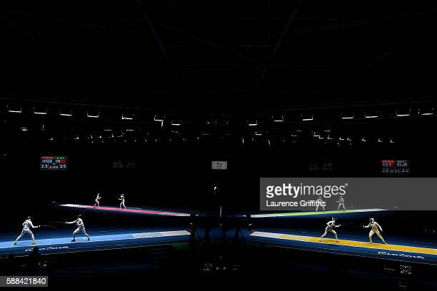 A general view during Women's Epee Team Quarterfinal bouts on Day 6 of the 2016 Rio Olympics at Carioca Arena 3 on August 11 2016 in Rio de Janeiro...