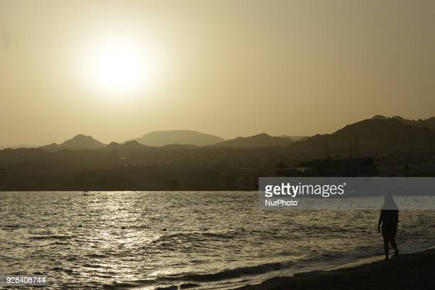 General view Eilat beach and town. On Tuesday, March 6 in Eilat, Israel.