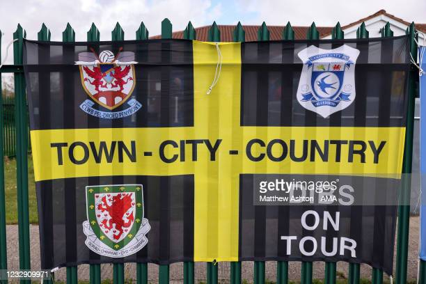 General view flags of Penybont FC during the Cymru Welsh Premier League match between Penybont and Connah's Quay Nomads at The SDM Glass Stadium on...