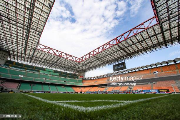 General view fo the stadium during the Serie A match between FC Internazionale and ACF Fiorentina at Stadio Giuseppe Meazza on July 22, 2020 in...